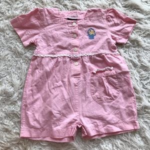 Vintage baby pink and lace Easter romper